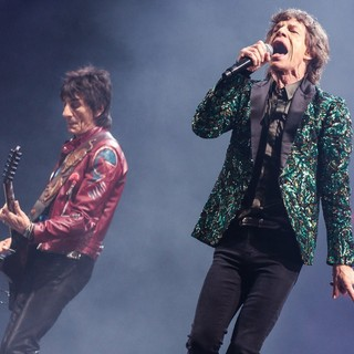 Ronnie Wood, Mick Jagger, The Rolling Stones in The 2013 Glastonbury Festival