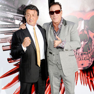 Sylvester Stallone, Mickey Rourke in Los Angeles Premiere of 'The Expendables'