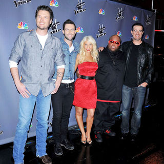 Blake Shelton, Adam Levine, Christina Aguilera, Cee-Lo, Carson Daly in NBC Press Junket for 'The Voice'