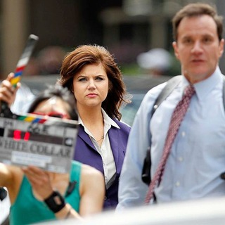 Tiffani-Amber Thiessen, Tim DeKay in Filming on The Set of White Collar