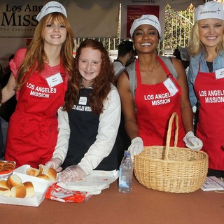 Bella Thorne, Tatyana Ali, Malin Akerman in The Los Angeles Mission's Thanksgiving for Skid Row Homeless