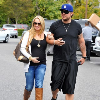 Tiffany Thornton and Christopher Carney Leaving Bed Bath and Beyond