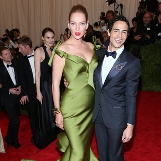 Uma Thurman, Zac Posen in PUNK: Chaos to Couture Costume Institute Gala
