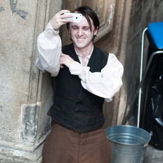 Tom Felton in Actors on The Set of Therese Raquin Filming on Location