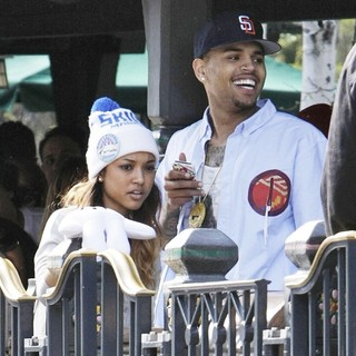 Karrueche Tran, Chris Brown in Chris Brown and Karrueche Tran Spend The Day Together at Disneyland
