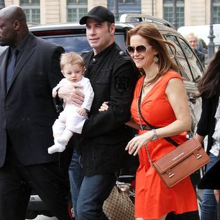 John Travolta, Kelly Preston, Benjamin Travolta in John Travolta Leaving The Ritz Hotel