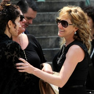 Aida Turturro, Edie Falco in The Funeral Service for Actor James Gandolfini