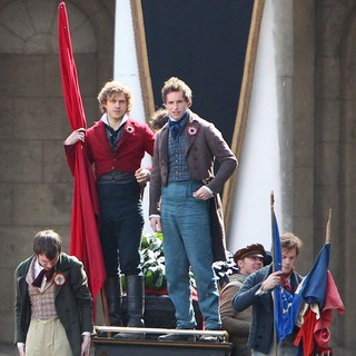 Aaron Tveit, Eddie Redmayne in On The Set of Les Miserables