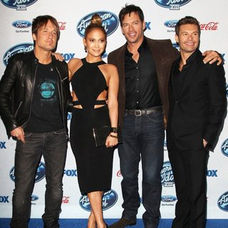 Keith Urban, Jennifer Lopez, Harry Connick Jr., Ryan Seacrest in FOX's American Idol XIII Finalists Party