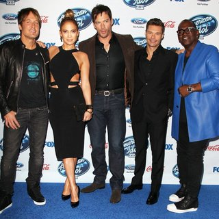 Keith Urban, Jennifer Lopez, Harry Connick Jr., Ryan Seacrest, Randy Jackson in FOX's American Idol XIII Finalists Party