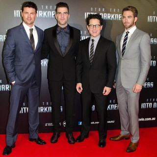 Karl Urban, Zachary Quinto, J.J. Abrams, Chris Pine in The Sydney Premiere of Star Trek Into Darkness - Arrivals