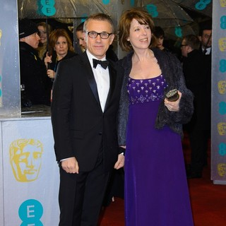 Christoph Waltz, Judith Holste in The 2013 EE British Academy Film Awards - Arrivals
