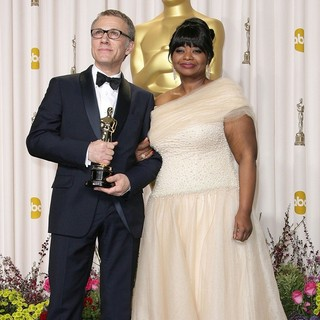 Christoph Waltz, Octavia Spencer in The 85th Annual Oscars - Press Room