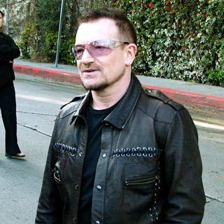 Bono in Bono Leaves The Chateau Marmont Hotel Before His Band's Gig at Capitol Records Tower