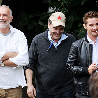 Frank Langella, Oliver Stone, Shia LaBeouf in On The Movie Set for The Film 'Wall Street 2: Money Never Sleeps'