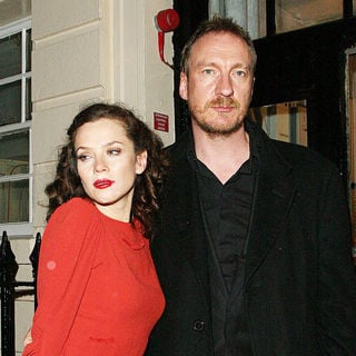 Anna Friel, David Thewlis in Anna Friel in a stunning scarlet dress, leaves the Theatre Royal