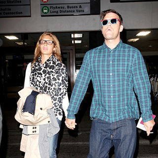 Robbie Williams with His Blue Suede Shoes and Blue Checked Shirt Arrives in LA with Ayda Field