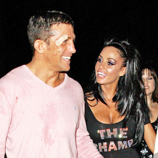 Katie Price aka Jordan and Alex Reid leaving Movida through the back door - wenn2581128