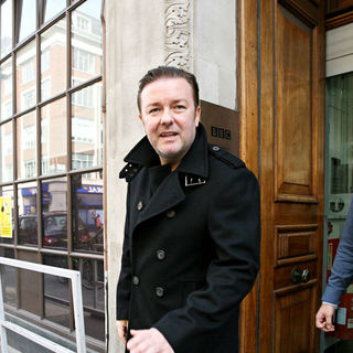 Ricky Gervais in Ricky Gervais  leaving the Radio One studios