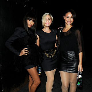 Sugababes in Sugababes leave eight members club before heading to Sarah Harding's party
