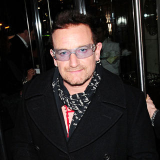 Bono in Bono of U2 leaves Cipriani Restaurant