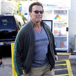 Arnold Schwarzenegger in Arnold Schwarzenegger leaving a restaurant with his son after having lunch