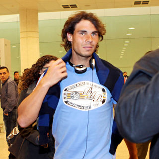 Rafael Nadal arrives at Barcelona airport after flying in from Australia