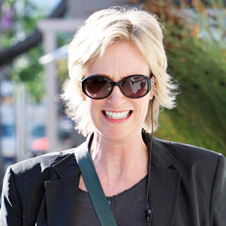 Jane Lynch leaving Le Pain Quotidian on Melrose Ave