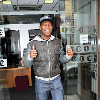 Dizzee Rascal outside The BBC Radio One Studios