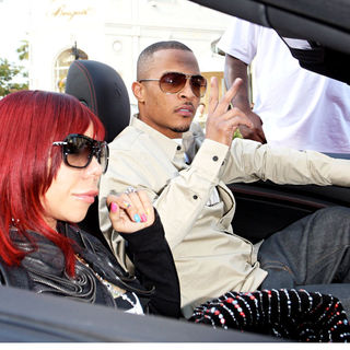 "T.I., Tameka Cottle in T.I. Shopping with Tameka ""Tiny"" Cottle at Louis Vuitton on Rodeo Drive in Beverly Hills"