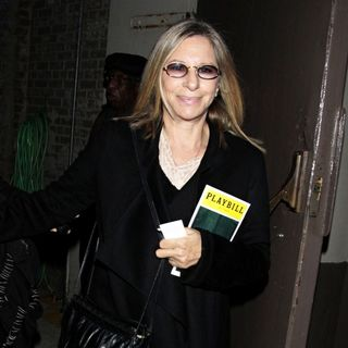Barbra Streisand in Barbra Streisand leaving the Cort Theatre after the performance of the Broadway play 'Fences'