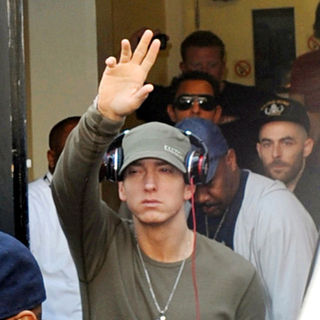 Eminem in Eminem Leaves The Maida Vale Studios After Performing in Radio 1's Live Lounge