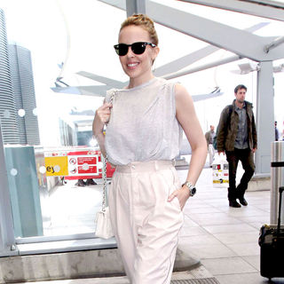 Kylie Minogue in Kylie Minogue Arriving at Heathrow Airport