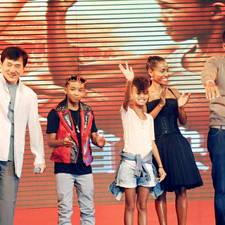 Jackie Chan, Will Smith, Jaden Smith, Willow Smith, Jada Pinkett Smith in The Premiere of 'The Karate Kid'