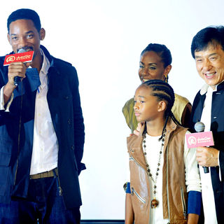 Jackie Chan, Will Smith, Jaden Smith, Jada Pinkett Smith in The Premiere of 'The Karate Kid'