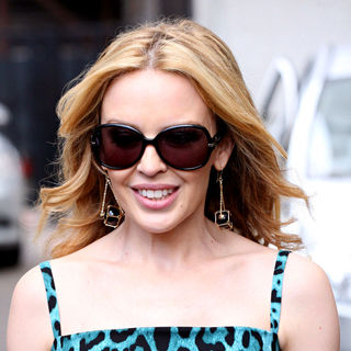Kylie Minogue Leaves The ITV Studios After Appearing on 'GMTV'