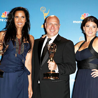 Padma Lakshmi, Tom Colicchio, Gail Simmons in The 62nd Annual Primetime Emmy Awards - Press Room
