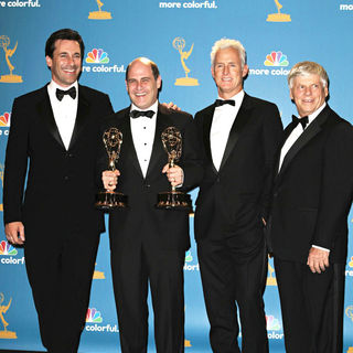 Jon Hamm, Matthew Weiner, John Slattery, Robert Morse in The 62nd Annual Primetime Emmy Awards - Press Room