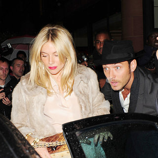 Sienna Miller, Jude Law in Jude Law and Sienna Miller Leaving C London Restaurant