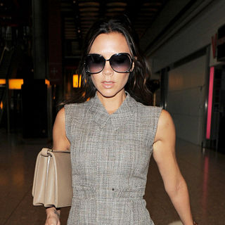 Victoria Adams in Victoria Beckham Arriving at Heathrow Aiport