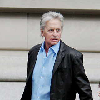 Michael Douglas in Michael Douglas Walking His Daughter To School