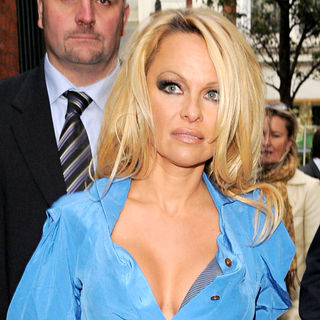 Pamela Anderson in Pamela Anderson Arriving at The London Transport Museum to Promote PETA's Campaign