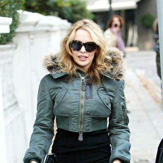 Kylie Minogue in Kylie Minogue Leaving Her House Ahead of Her Performance on Tonight's Results Show of The 'X Factor