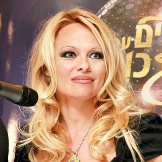 Pamela Anderson in Pamela Anderson Attends A Press Conference During Her Visit to Israel