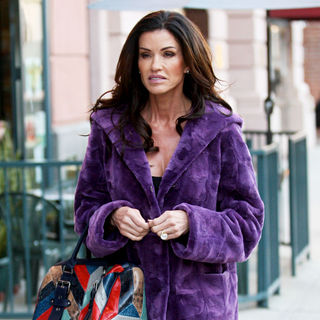 Janice Dickinson in Janice Dickinson Out and About Wearing A Purple Faux Fur Coat
