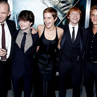 Ralph Fiennes, Daniel Radcliffe, Emma Watson, Rupert Grint, Tom Felton in The Premiere of 'Harry Potter and the Deathly Hallows: Part I'