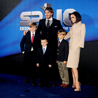 David Beckham, Victoria Adams, Brooklyn Beckham, Romeo Beckham, Cruz Beckham in The BBC Sports Personality Of The Year 2010 Awards