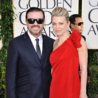 Ricky Gervais, Jane Fallon in 68th Annual Golden Globe Awards - Arrivals
