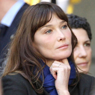 Carla Bruni Watches President Nicolas Sarkozy Addresses Citizens Working for Culture and Knowledge
