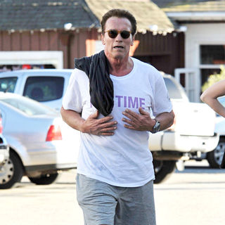Arnold Schwarzenegger Enjoys A Day Out Cycling with His Children - wenn3178357